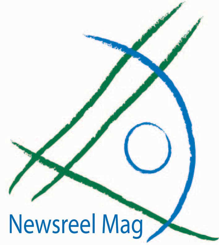 Newsreel Mag blue and green abstract eye logo by Kellie Gedert